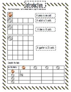 This really worked to teach adding coin values. You have to try it.  Value of Coins with Counting Coin Grids - Carol Redmond - TeachersPayTeachers.com