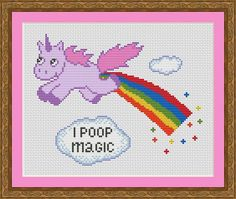 Funny Cross Stitch PDF Pattern Unicorn i poop magic