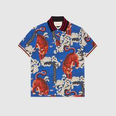 Gucci Camp-Collar Printed Silk-Twill Shirt - Gucci Menswear - Ideas of Gucci Menswear - Gucci Camp-Collar Printed Silk-Twill Shirt Mens Printed Shirts, Men's Shirts, Button Shirts, Silk Shirts, Camisa Vintage, Casual Shirts For Men, Men Casual, African Tops, African Style