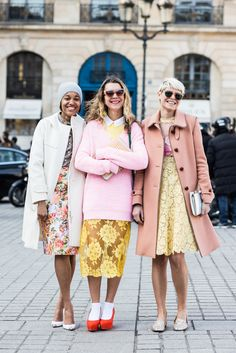 Tamu McPherson, Natalie Joos and Elisa Nalin wearing Spring '13 in Paris.