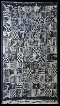Africa | Ukara cloth from the Leopard Society of the Igbo people of Nigeria | Plain weave/stitch/resist on cotton dyed with indigo, | 20th century