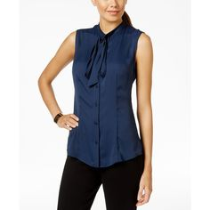 Anne Klein Sleeveless Tie-Neck Blouse ($45) ❤ liked on Polyvore featuring tops, blouses, navy, navy sleeveless blouse, blue sleeveless blouse, sleeveless tie neck blouse, neck-tie and blue top