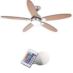 Good LED RGB Decken Ventilator L fter Stufen Wohnraum Lampe Farbwechsler Dimmer EEK A http