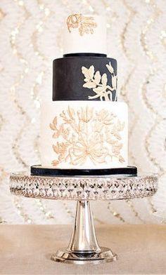 Gold, black and white wedding cake