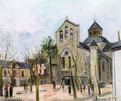 Aubazine (Correze), Church and Plaza Artwork by Maurice Utrillo Hand-painted and Art Prints on canvas for sale,you can custom the size and frame