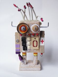 Items similar to wooden robot on Etsy Recycled Robot, Recycled Art, Pop Can Crafts, Cardboard Robot, Wood Crafts, Paper Crafts, Aluminum Can Crafts, Wood Toys, Diy Toys