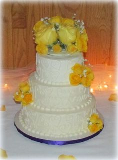 Double Heart Wedding Cake with yellow roses by www.samantha-sweets.com