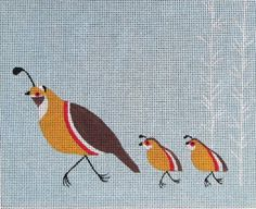 Quail Needlepoint by Anna See. I like the white tree design on the right side.