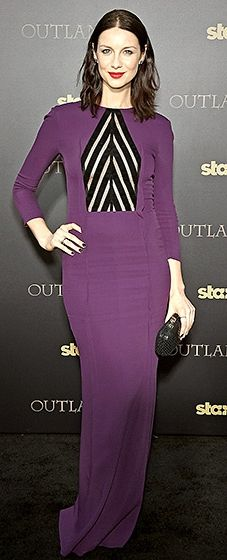 Gorgeous! The actress knocked it out of the park in a grape-hued dress that featured a black striped detail.