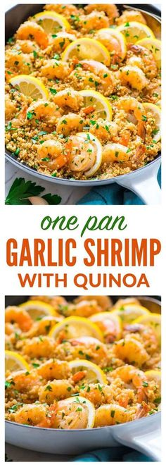 Shrimp with Quinoa - Garlic Shrimp with Quinoa — Easy, quick, and delicious! Healthy recipe with fresh lemon and garli -Garlic Shrimp with Quinoa - Garlic Shrimp with Quinoa — Easy, quick, and delicious! Healthy recipe with fresh lemon and garli - Healthy Cooking, Healthy Eating, Cooking Recipes, Clean Eating, Meal Recipes, Pasta Recipes, Healthy Foods, Celiac Recipes, Recipies