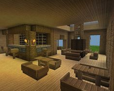 Wood living/dining room with bar area - Minecraft Minecraft Restaurant, Minecraft Shops, Minecraft Castle, Minecraft Room, Minecraft Plans, Minecraft Tutorial, Cool Minecraft Houses, Minecraft Crafts, Minecraft Furniture