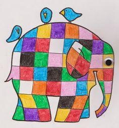 Lines Across: Elmer the Patchwork Elephant Coloring Page Elephant Book, Elephant Crafts, Elephant Quilt, Colouring Pages, Coloring Pages For Kids, Coloring Books, Alphabet Coloring, Drawing For Kids, Art For Kids