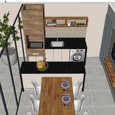 Consultoria Online realizada para uma cliente que precisava de uma área gourmet onde houvesse espaço para uma lavanderia. The Sims, Home Office, Industrial Loft, Areas Gourmet, Barcelona, Sweet Home, Backyard, House Design, Inspiration