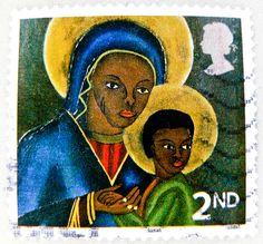 xmas stamp GB Madonna Jesus