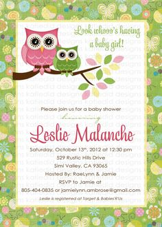 owl baby shower invitation owl first birthday baby girl shower green pink baby sprinkle gender reveal item 131 shabby chic invitations