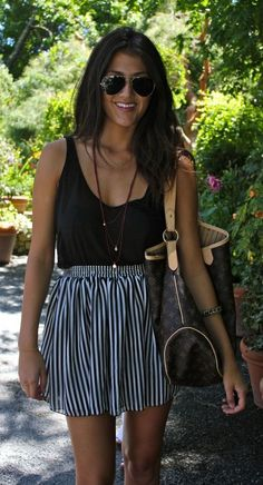 Striped print skirt and black top