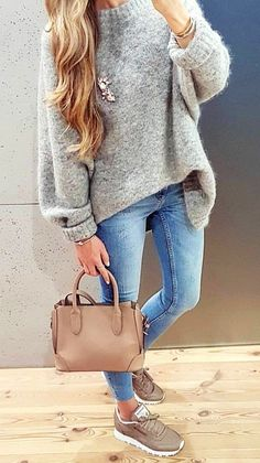 #fall #outfits gray leather tote bag