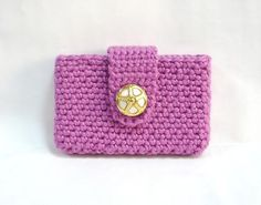 Cute business card holder crocheted outside fabric inside going card holder crochet business card holder credit by melbashoppe 1500 reheart Choice Image