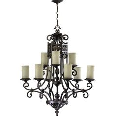 Marcela Nine-Light Oiled Bronze with Antique Gold Chandelier