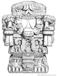 Illustration showing the Coatlicue statue, which was discovered in the main plaza of Mexico City in 1790. Coatlicue is the Aztec goddess who gave birth to the moon, stars, and to Huitzilopochtli, god of the sun and war