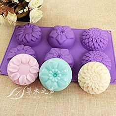 Amazon.com: Peicees 6 Cavity Silicone Flower Soap Mold Chrysanthemum Sunflower Mixed Flower shapesCupcake Backing mold Muffin pan Handmade soap silicone Moulds: Paintings