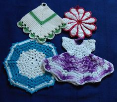 4 Vintage Crochet Potholders Destash Lot Mix by VintagePleasures, $5.00