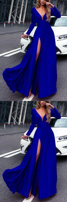 Royal Blue Long Sleeves Prom Dresses 2018 Leg Split Evening Gowns