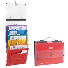 Use hangable rainbow file folders so students can turn in their work according to subject matter.