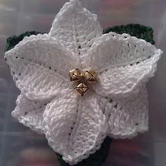 Poinsettia Crochet Christmas Flower free pattern