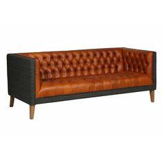 bristol club leather and harris tweed sofa side view - Modish living
