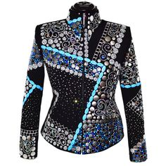 Blue Abstract Western Show Jacket