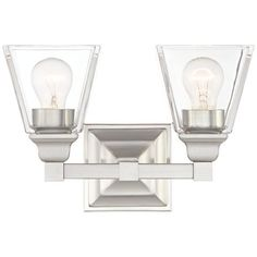 """Mencino 12 3/4"""" Wide Satin Nickel and Clear Glass Bath Light"""