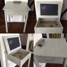 Vintage school desk makeover /repurposed/chalk painted shabby chic desk with chalkboard.