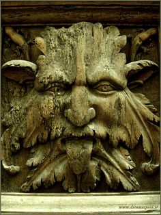Greenman head ancient symbol of woods, seen nowadays in many architectures. Taken in Foligno, it was carved in a wooden door.