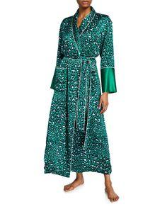 Olivia Von Halle Capability Danger Leopard-print Long Silk Robe In Green Pattern Olivia Von Halle, Silk Robe Long, Green Pattern, World Of Fashion, Wrap Dress, Luxury Fashion, Clothes For Women, Long Sleeve, Fashion Design