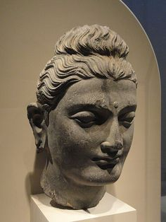 Head of the Buddha, Gandhara, century AD, schist- Arthur M. Sculpture Museum, Buddha Sculpture, Buddha Figures, Gautama Buddha, Buddha Art, Art Archive, Portrait, Asian Art, Buddhism