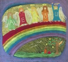 Angel Letters-A E I O U Drawn by Kim Stuart, Roseway Waldorf School, KZN , South Africa