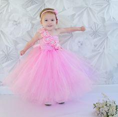 Pink Flower Girl Wedding Rhinestone Couture Tutu por krystalhylton