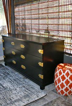 "Painted mid century modern furniture. Redone in a black enamel. Kent Coffey, ""The Ming"" dresser."