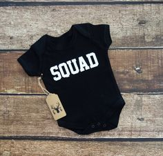 Squad Baby Onesie or Squad Toddler Shirt ♥ Baby Clothes ♥ Baby Fashion ♥ Kid Fashion ♥ Kid Clothes  This listing is for 1 Onesie or Shirt  Isnt this the cutest thing youve ever seen! ♥  Dress up your little one in this darling little number and it will grab more attention than she already has. Makes a great birthday gift. Simply adorable!  Baby Onesie or Toddler Shirt Color ♥ Black Baby Pink  Size ♥ Onesie - 0-3 months Onesie - 3-6 months Onesie - 6-12 months Onesie - 12-18 months Onesie…