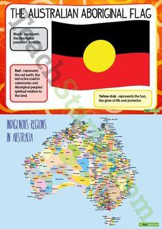 NAIDOC Week - Aboriginal Flag and Indigenous Regions Map Teaching Resource Aboriginal Flag, Aboriginal Dreamtime, Aboriginal Education, Indigenous Education, Aboriginal Culture, Indigenous Knowledge, Naidoc Week Activities, Australian Aboriginal History, Harmony Day