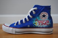 I so need these and I would not even pretend they are for my son! ;) Adventure Time Converse HiTops by FandomFeetbyAshlee on Etsy, $120.00