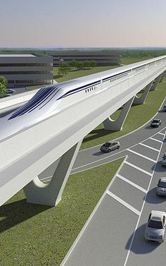This maglev train project backed by some powerful names could zip commuters along the Northeast corridor. Futuristic Cars, Futuristic Architecture, Architecture Design, Rail Transport, Public Transport, Old Steam Train, Future Transportation, High Speed Rail, Train Art