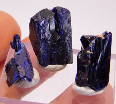 3 pcs Dark Blue crystal AZURITE from Morocco  40 ct