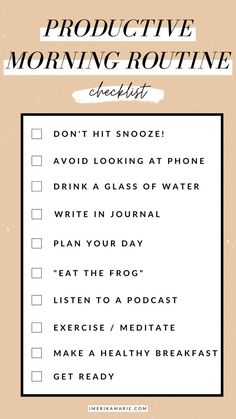 how to have a productive morning that will set you up for the perfect day. learn how to create a morning routine for success. Morning Routine Checklist, Healthy Morning Routine, Routine Planner, Morning Habits, Night Routine, Morning Routines, Morning Routine Printable, Healthy Routines, Daily Routines