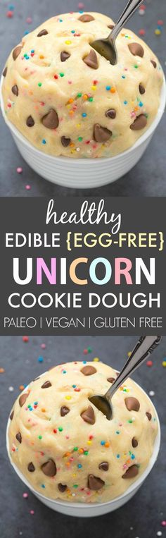 Healthy Edible Egg-Free Unicorn Cookie Dough (V, GF, DF, P)- Easy guilt-free and edible flourless cookie dough inspired by the unicorn frappuccino- Ready in 5 minutes and NO beans! Paleo Dessert, Gluten Free Desserts, Vegan Desserts, Just Desserts, Delicious Desserts, Dessert Recipes, Yummy Food, Tasty, Plated Desserts