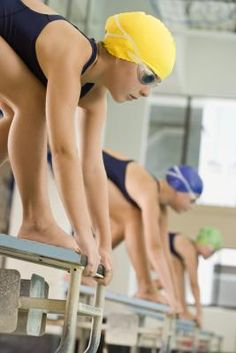 Competitive swimming and swim workouts.