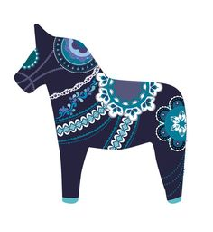 midnight dala horse Art Print