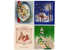 Vintage Christmas Cards Lot of 4 1940s and 1950s by vintagebarrel