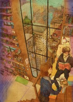 Reading books on a leisurely afternoon :) Art And Illustration, Illustrations, Love Is Sweet, What Is Love, Cute Love, Puuung Love Is, Korean Artist, Couple Art, Love Art